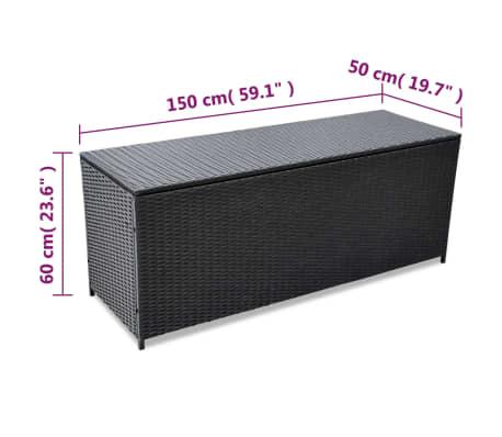 vidaXL Garden-Auflagenbox Schwarz 150×50×60 cm Poly Rattan[4/5]