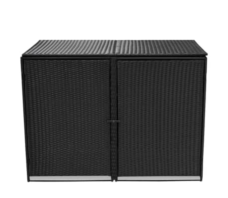"vidaXL Double Wheelie Bin Shed Poly Rattan Black 58.2""x31.5""x43.7""[2/7]"