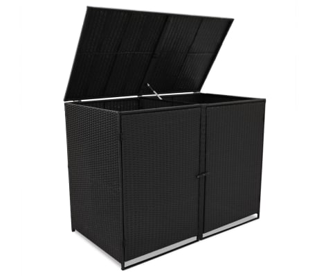 "vidaXL Double Wheelie Bin Shed Poly Rattan Black 58.2""x31.5""x43.7""[3/7]"