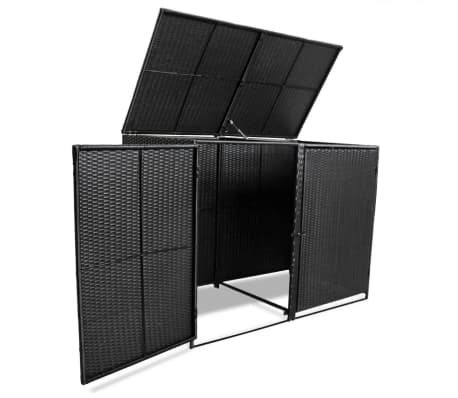 "vidaXL Double Wheelie Bin Shed Poly Rattan Black 58.2""x31.5""x43.7""[6/7]"
