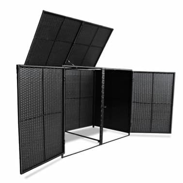"vidaXL Double Wheelie Bin Shed Poly Rattan Black 58.2""x31.5""x43.7""[4/7]"