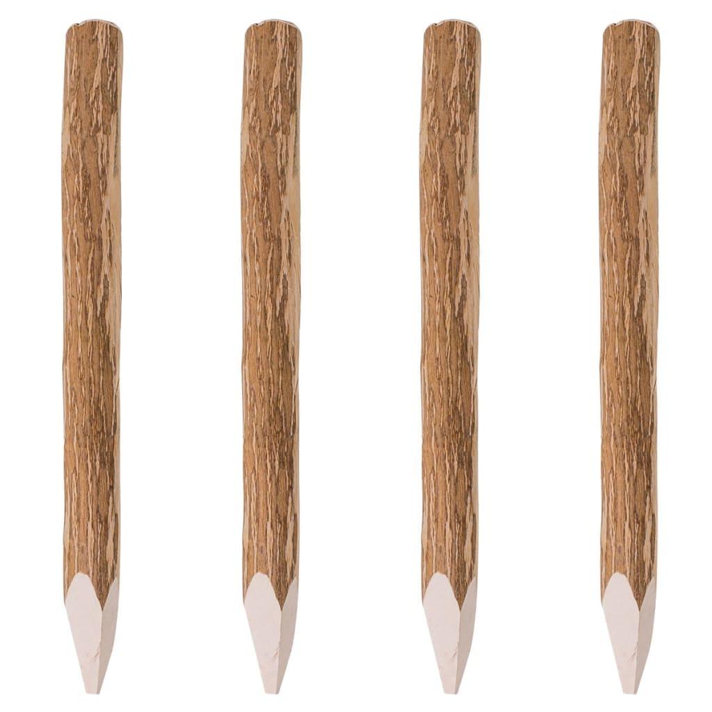 Špičaté plotové sloupky 4 ks lískové dřevo 90 cm