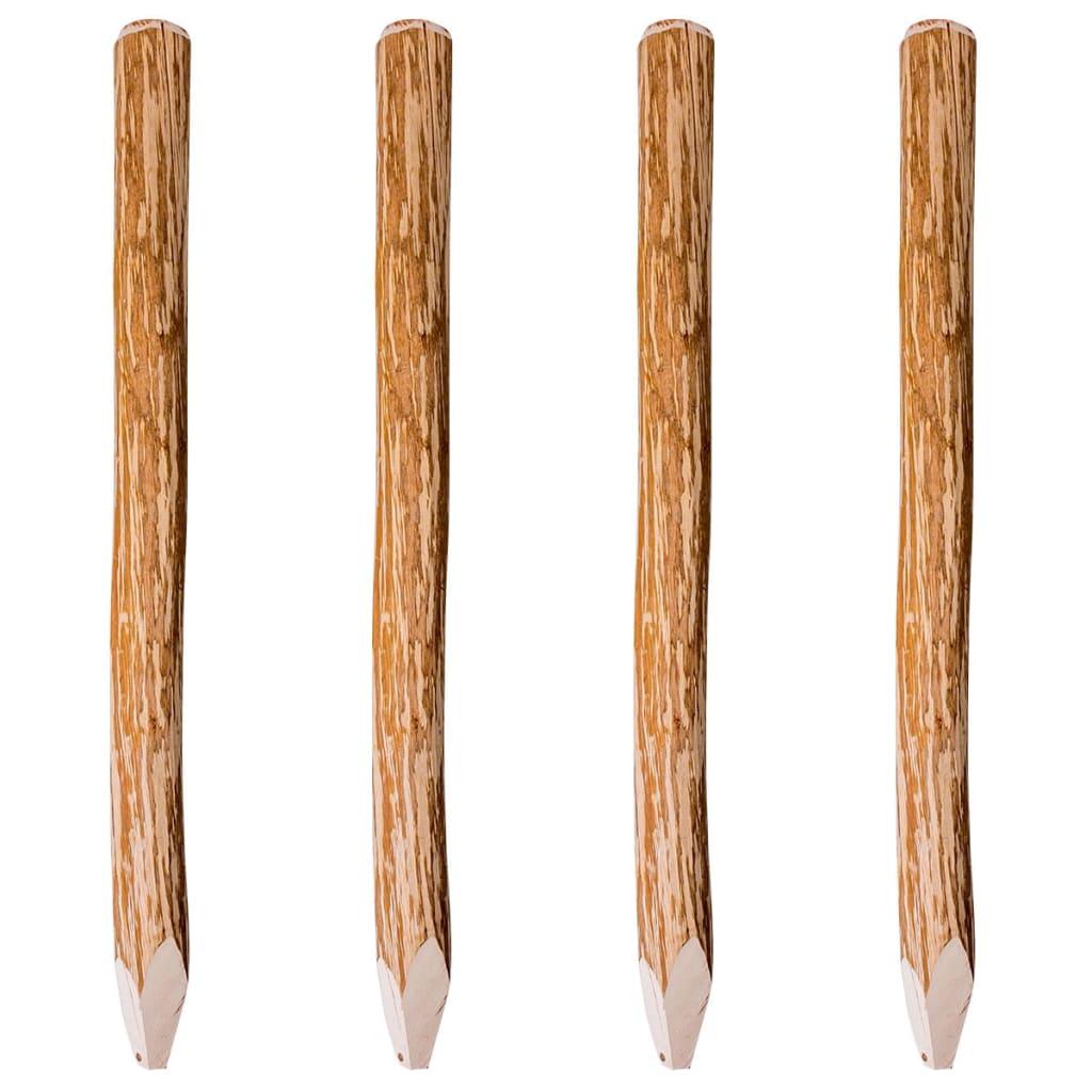 vidaXL Stâlpi de gard ascuțiți, 4 buc., 120 cm, lemn de alun poza 2021 vidaXL