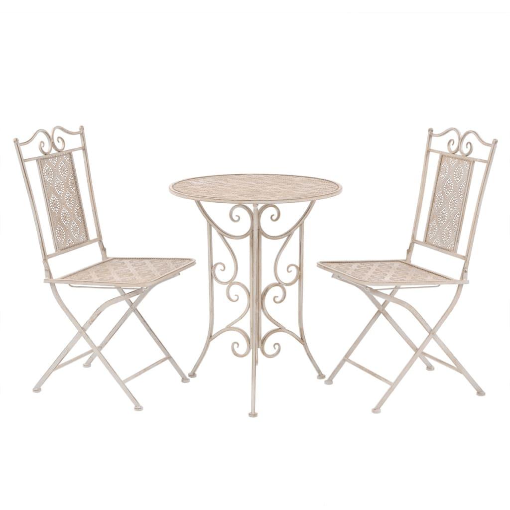 vidaXL Zahradní nábytek bistro set, 3 kusy, ocel, bílý