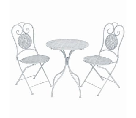 vidaXL Set mobilier bistro, 3 piese, alb cenușiu, oțel
