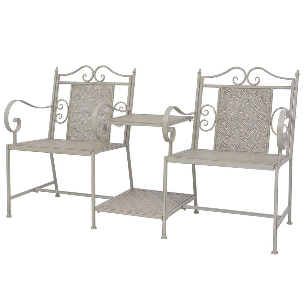 vidaXL Zahradní dvousedačková lavička, ocelová šedá