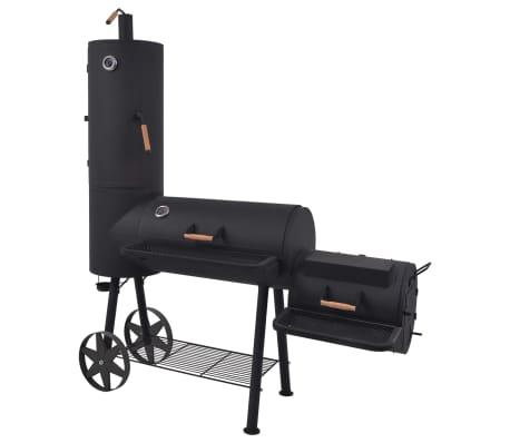 vidaXL BBQ Charcoal Smoker with Bottom Shelf Black Heavy XXL[1/9]