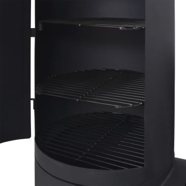 vidaXL BBQ Charcoal Smoker with Bottom Shelf Black Heavy XXL[4/9]