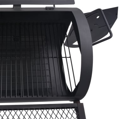 vidaXL BBQ Charcoal Smoker with Bottom Shelf Black Heavy XXL[6/9]