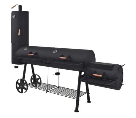 vidaXL Ψησταριά Κάρβουνου/Καπνιστήριο Μαύρη με Κάτω Ράφι Heavy XXXL