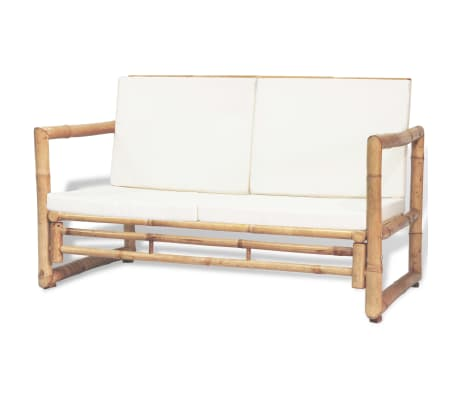 vidaXL 2 Seater Garden Sofa with Cushions Bamboo