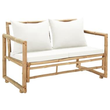 vidaXL Canapé de jardin à 2 places avec coussins Bambou[1/7]