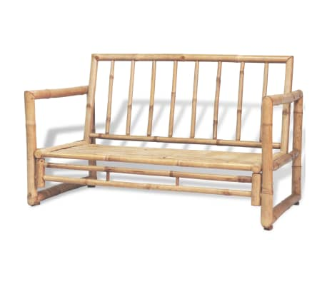 vidaXL 2-osobowa sofa ogrodowa z poduszkami, bambus[2/7]