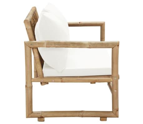 vidaXL Canapé de jardin à 2 places avec coussins Bambou[3/7]