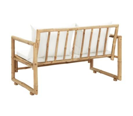 vidaXL Canapé de jardin à 2 places avec coussins Bambou[4/7]