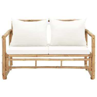 vidaXL Canapé de jardin à 2 places avec coussins Bambou[2/7]