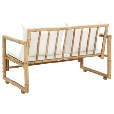 vidaXL 2-osobowa sofa ogrodowa z poduszkami, bambus[4/7]