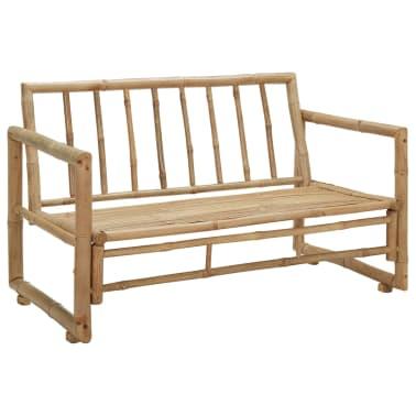 vidaXL Canapé de jardin à 2 places avec coussins Bambou[5/7]