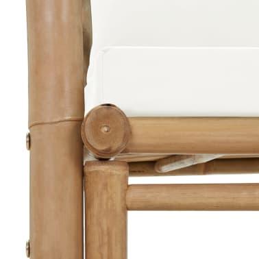 vidaXL Canapé de jardin à 2 places avec coussins Bambou[6/7]