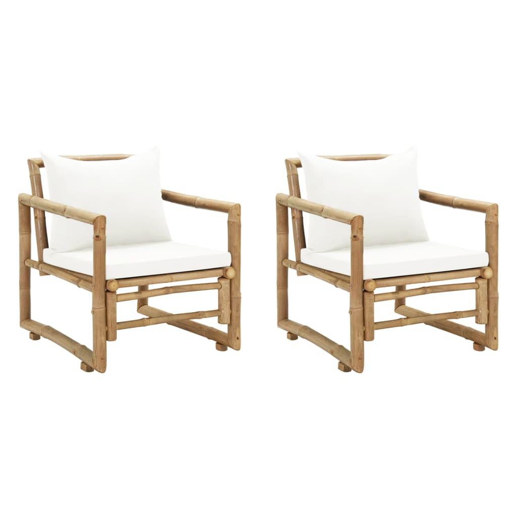 vidaXL Krzesła ogrodowe z poduszkami, 2 szt., bambusowe