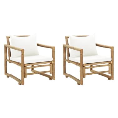 vidaXL Zahradní židle 2 ks s poduškami a polštáři bambus[1/6]
