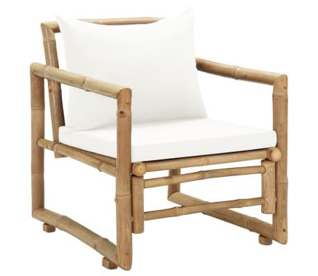 vidaXL Zahradní židle 2 ks s poduškami a polštáři bambus[2/6]