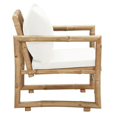 vidaXL Trädgårdsstolar 2 st med dynor bambu[4/6]
