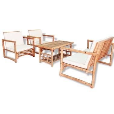 vidaXL 4-részes bambusz kerti bútorszett párnákkal[1/15]