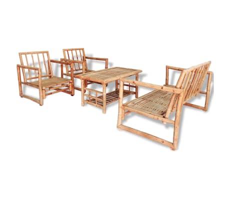 vidaXL 4-részes bambusz kerti bútorszett párnákkal[2/15]