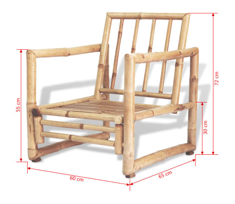 vidaXL 4-részes bambusz kerti bútorszett párnákkal[15/15]