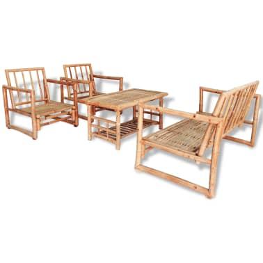 vidaXL Vrtna sedežna garnitura z blazinami 4-delna bambus[2/15]