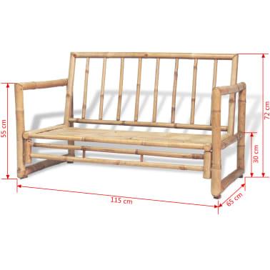 vidaXL 4-részes bambusz kerti bútorszett párnákkal[14/15]