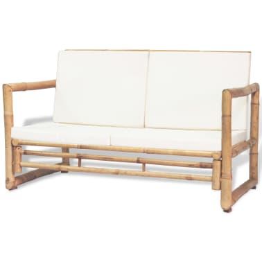 vidaXL 4-részes bambusz kerti bútorszett párnákkal[3/15]