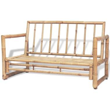 vidaXL 4-részes bambusz kerti bútorszett párnákkal[4/15]