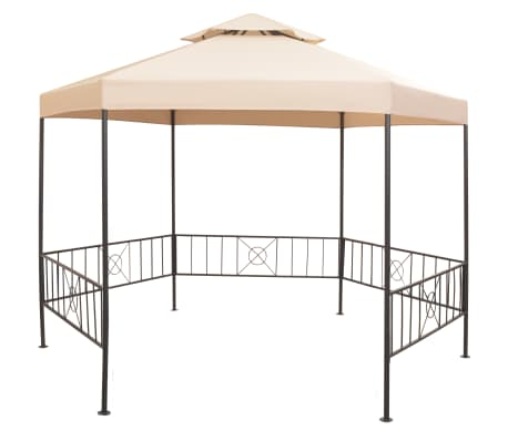 acheter vidaxl chapiteau tente de jardin hexagonal beige 323 x 265 cm pas cher. Black Bedroom Furniture Sets. Home Design Ideas