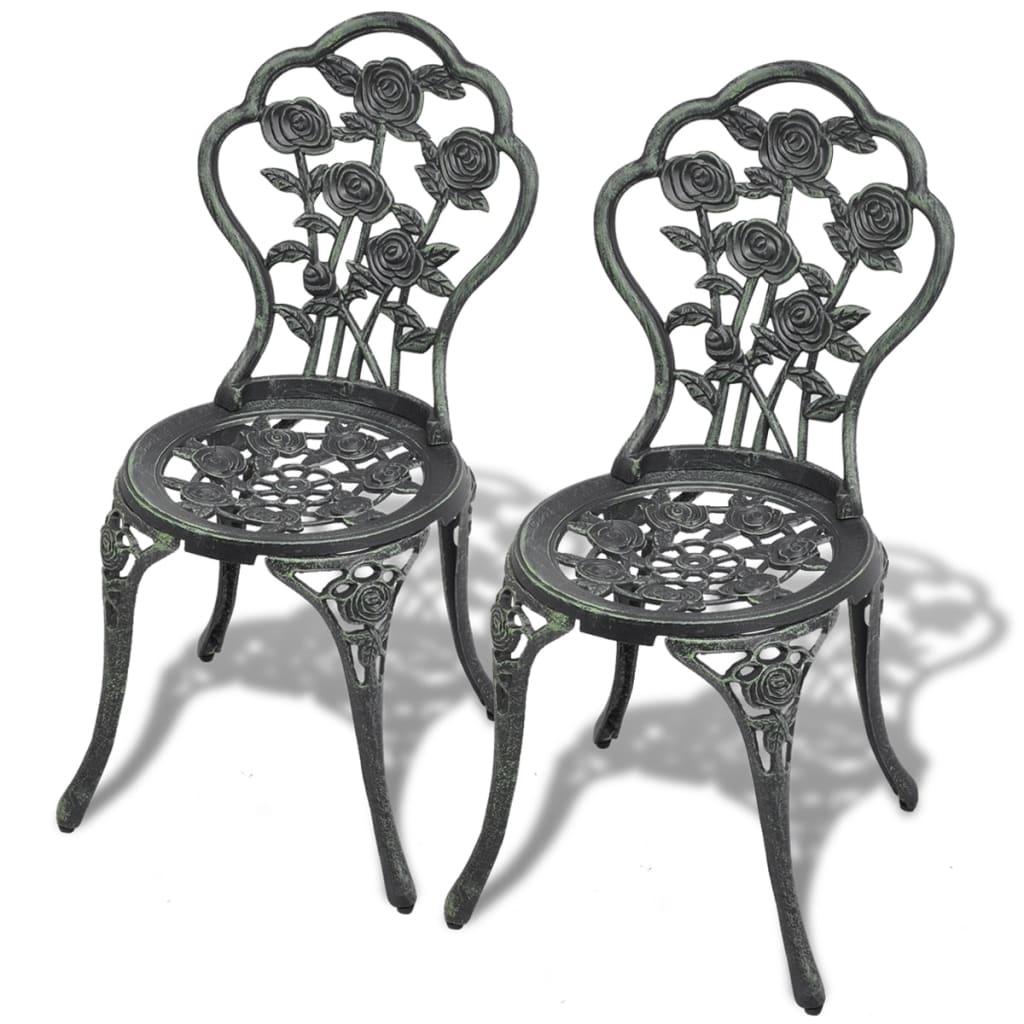 vidaXL Καρέκλες Μπιστρό 2 τεμ. Πράσινες 41x49x81,5 εκ. Χυτό Αλουμίνιο
