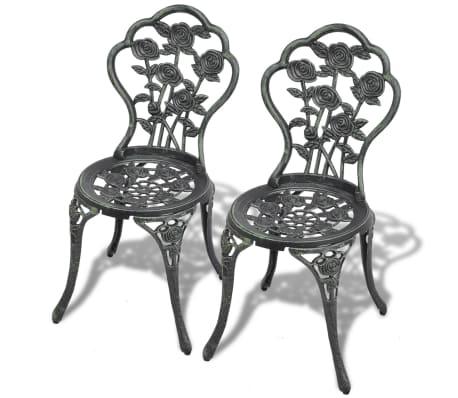 vidaXL Bistro kėdės, 2 vnt., žalios, 41x49x81,5 cm, lietas aliuminis[1/6]