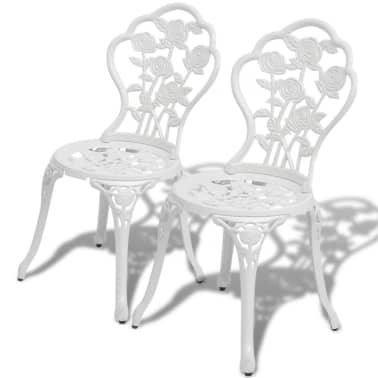 vidaXL Sillas de jardín bistró 2 unidades aluminio fundido blanco[1/5]