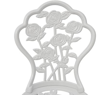 vidaXL Sillas de jardín bistró 2 unidades aluminio fundido blanco[3/5]