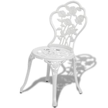 vidaXL Sillas de jardín bistró 2 unidades aluminio fundido blanco[2/5]