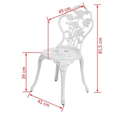 vidaXL Sillas de jardín bistró 2 unidades aluminio fundido blanco[5/5]