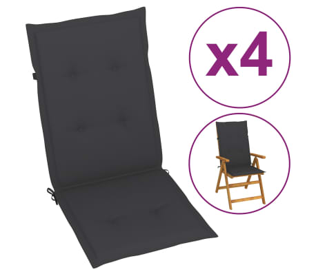 "vidaXL Garden Chair Cushions 4 pcs Anthracite 47.2""x19.7""x1.18"""