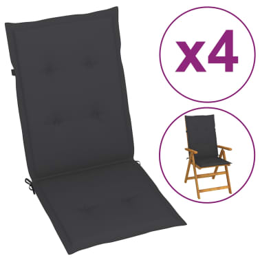 "vidaXL Garden Chair Cushions 4 pcs Anthracite 47.2""x19.7""x1.18""[2/9]"