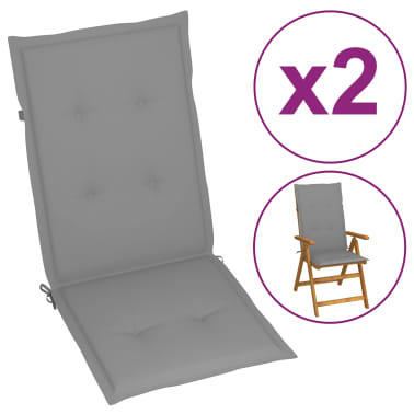 "vidaXL Garden Chair Cushions 2 pcs Gray 47.2""x19.7""x1.18""[2/9]"