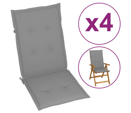 "vidaXL Garden Chair Cushions 4 pcs Gray 47.2""x19.7""x1.18""[2/9]"