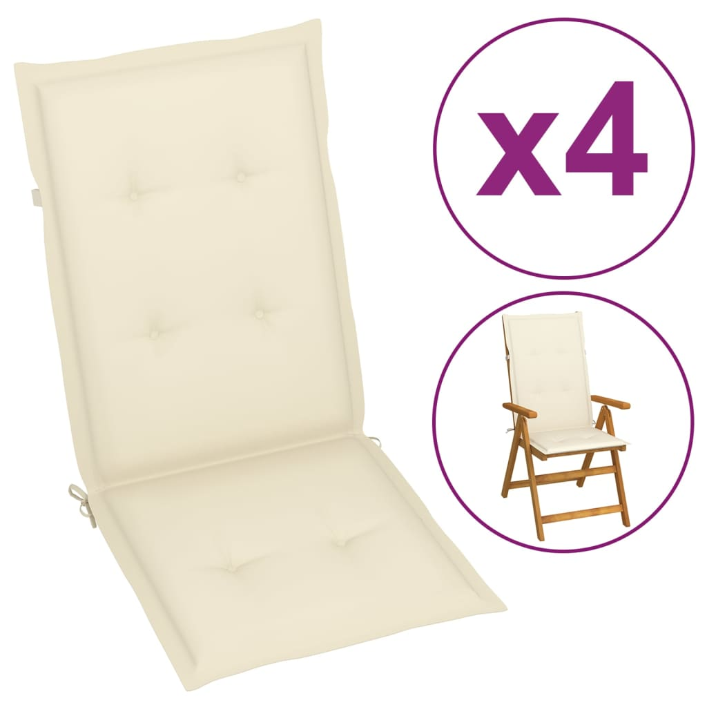 88f65df96 vidaXL Polstry na zahradní židle 4 ks, krémové, 120x50x3 cm