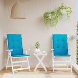 vidaXL Възглавници за градински столове, 2 бр, сини, 120x50х3 см