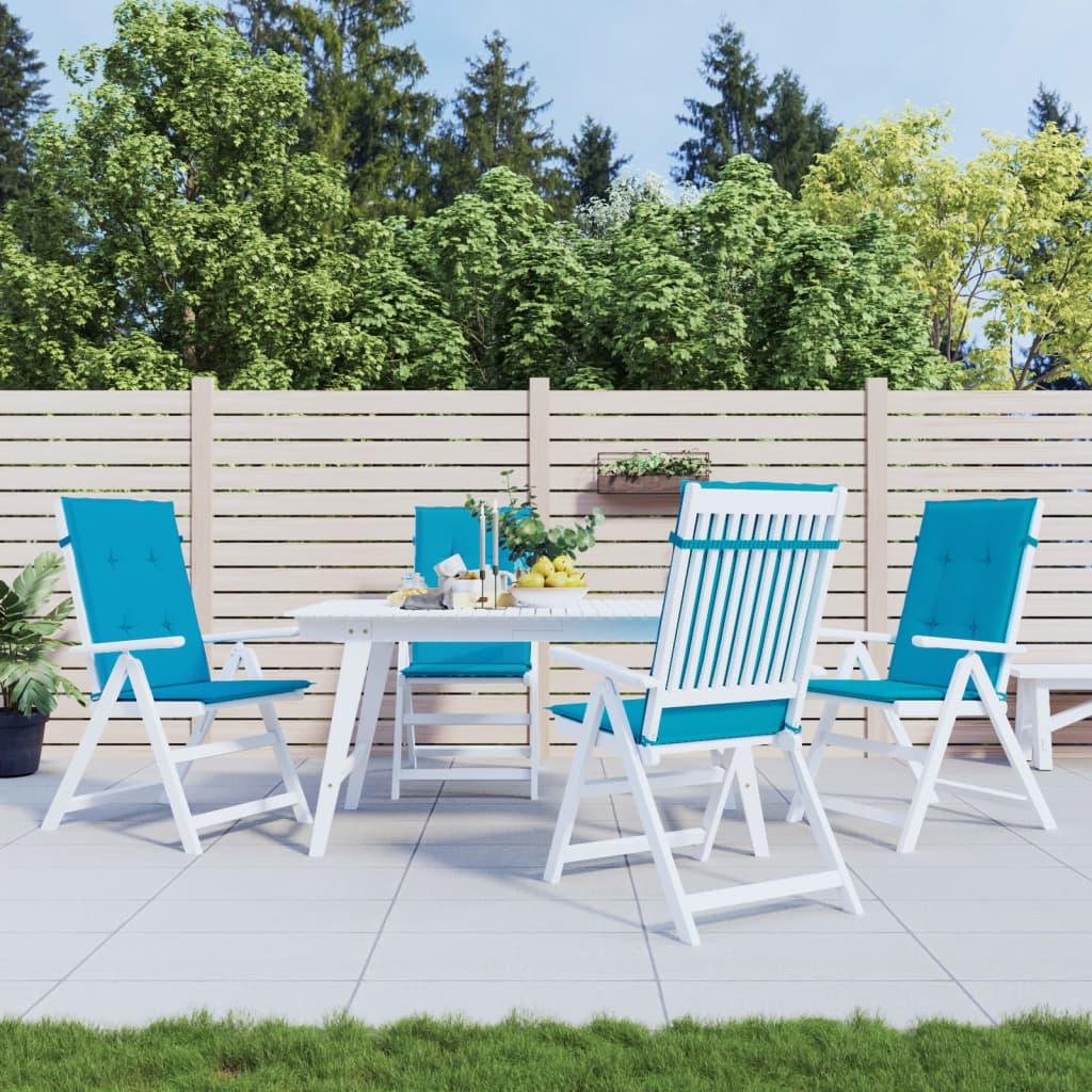 vidaXL Polstry na zahradní židle 4 ks, modré, 120x50x3 cm