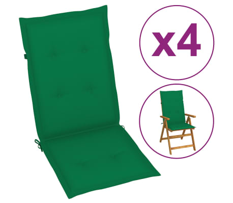 vidaXL Poduszki na krzesła ogrodowe, 4 szt., zielone, 120x50x3 cm