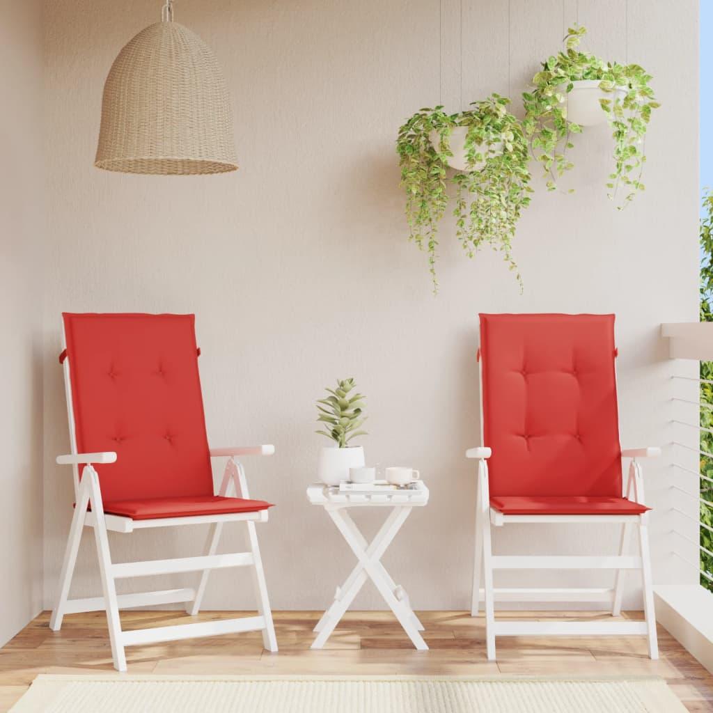 vidaXL Polstry na zahradní židle 2 ks, červené, 120x50x3 cm